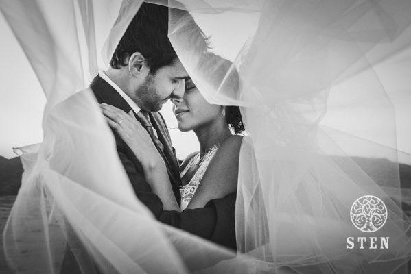 Mariés, bord de mer, prix, or, couple, amour, stenphoto