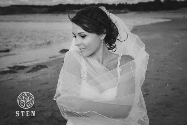 Mariée, bord de mer, plage, voile, robe, stenphoto