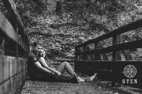 Couple, engagement, pont, forêt