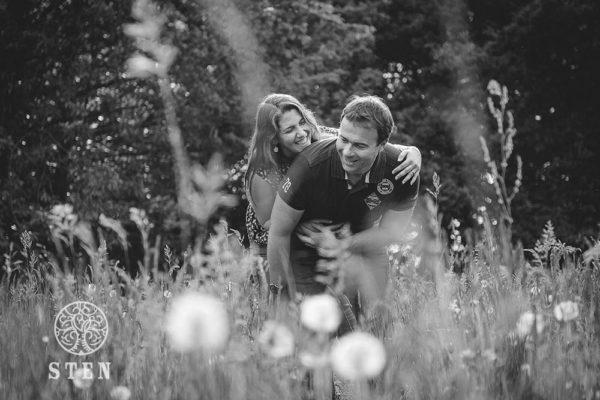 Fleurs, couple, engagement, nature, forêt