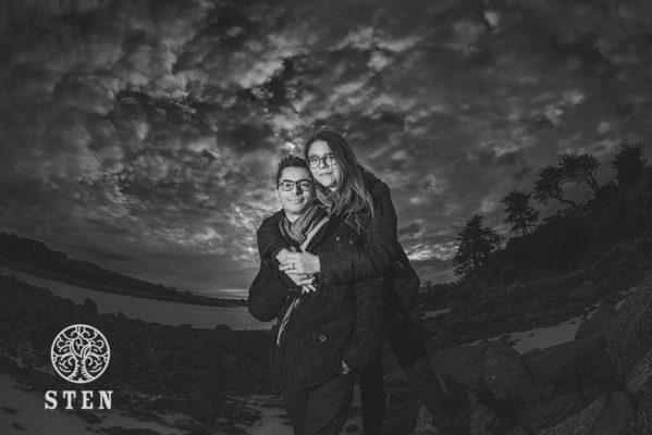 Couple, nuit américaine, engagement, bord de mer, stenphoto