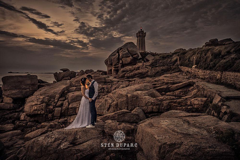 Portrait couple mariage Perros Guirec